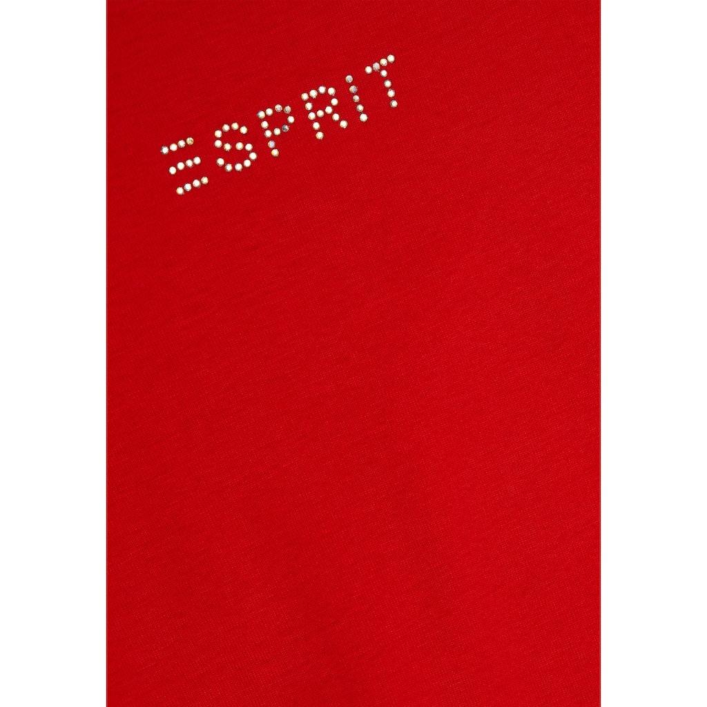 Esprit T-Shirt, mit tollem Logo-Schriftzug aus Glitzersteinchen