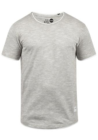 Solid Rundhalsshirt »Rigos«, Kurzarmshirt mit farblich abgesetztem Kragen kaufen