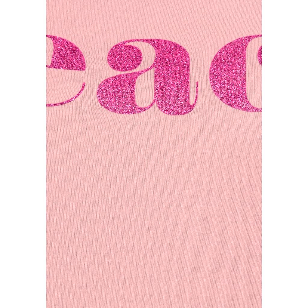 AJC T-Shirt, mit Multicolor-Glitzer-Frontprint