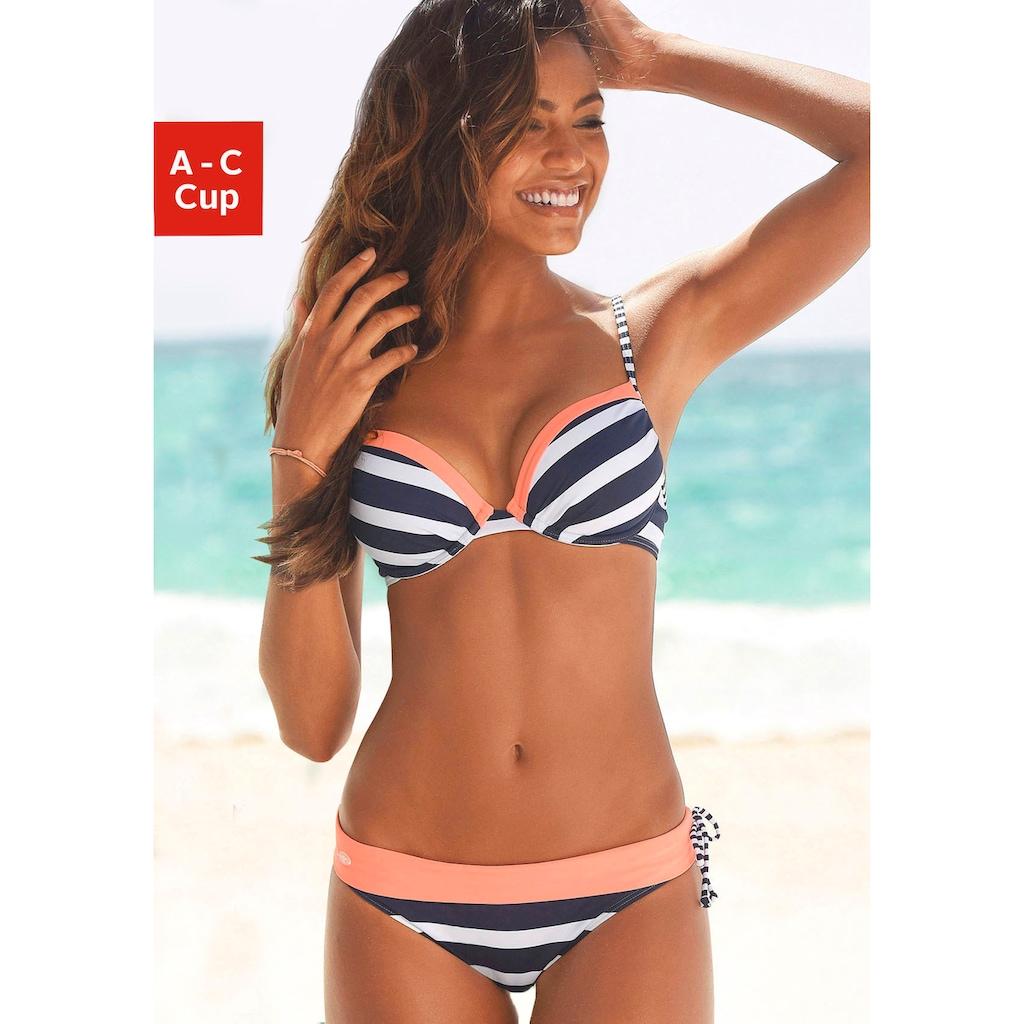 KangaROOS Push-Up-Bikini-Top »Anita«, im sportlichen Blockstreifendesign
