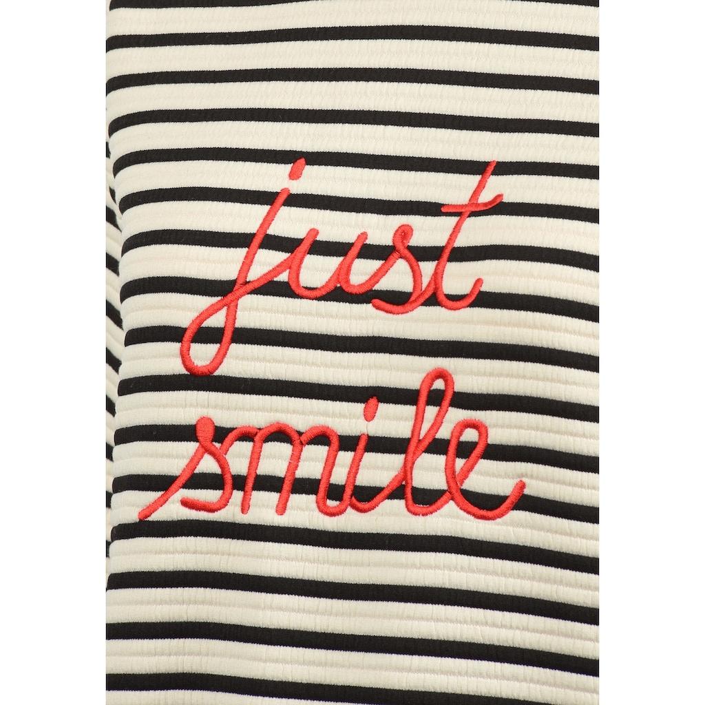 Blendshe Sweatshirt »Daria«, Pullover mit Streifen und Stickerei