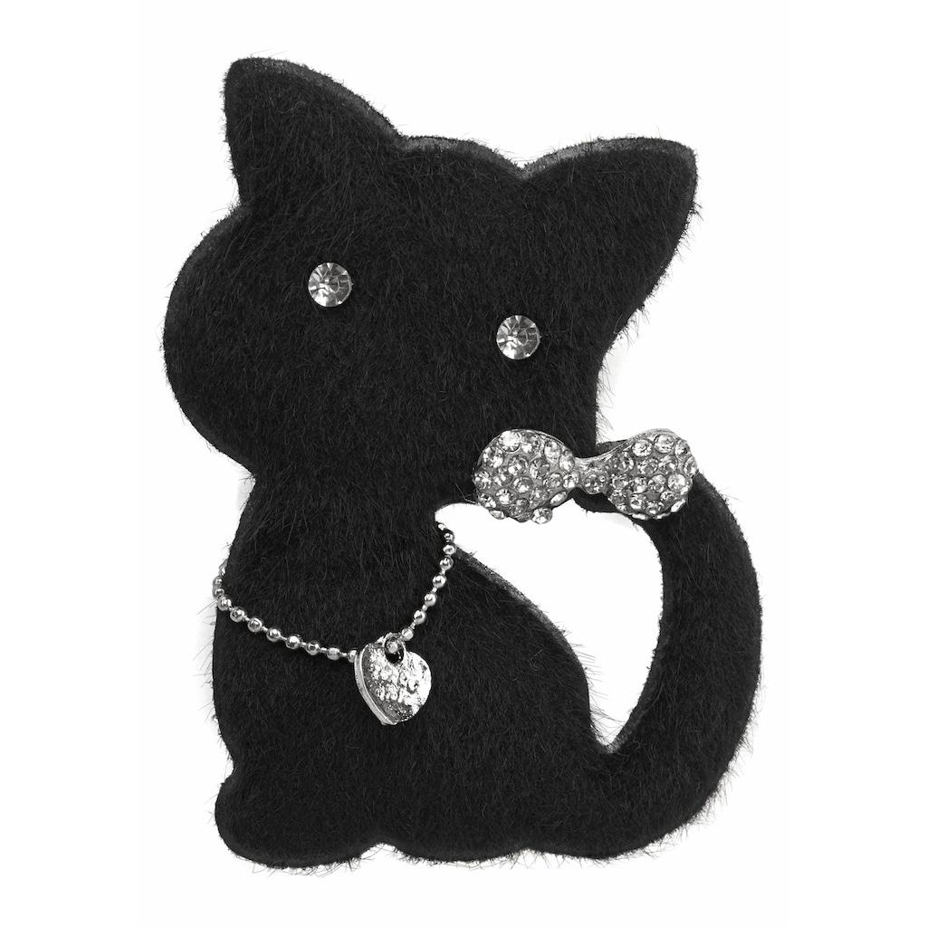 J.Jayz Brosche »Katze mit Anstecknadel«, (1 tlg.), mit Glassteinen