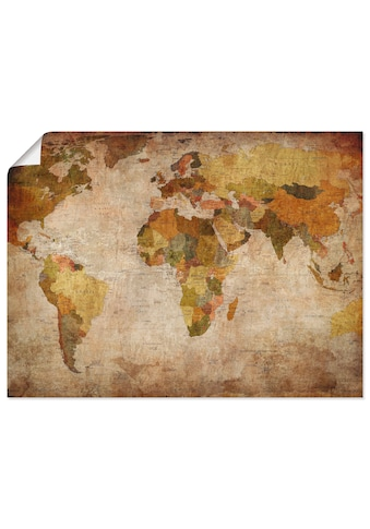 Artland Wandbild »Weltkarte«, Landkarten, (1 St.), in vielen Grössen & Produktarten -... kaufen