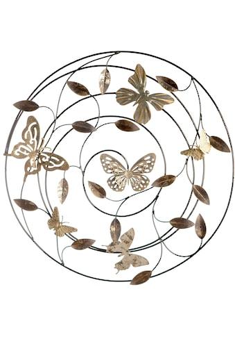 GILDE Wanddekoobjekt »Wandrelief Farfalle grau/braun/goldfarben«, Wanddeko, Ø 50 cm,... kaufen