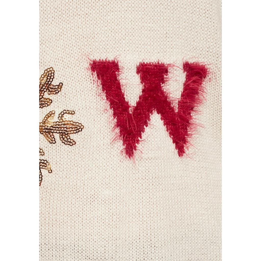 Aniston CASUAL Rundhalspullover, mit Effektgarn und Pailletten