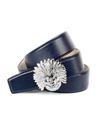 Anthoni Crown Ledergürtel, Schliesse mit Indianer-Motiv und dunkelblauem Leder kaufen