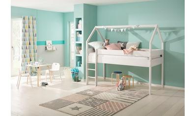 Lüttenhütt Kinderbett »Alpi«, aus massivem Kiefernholz, in einer Haus-Optik Form,... kaufen