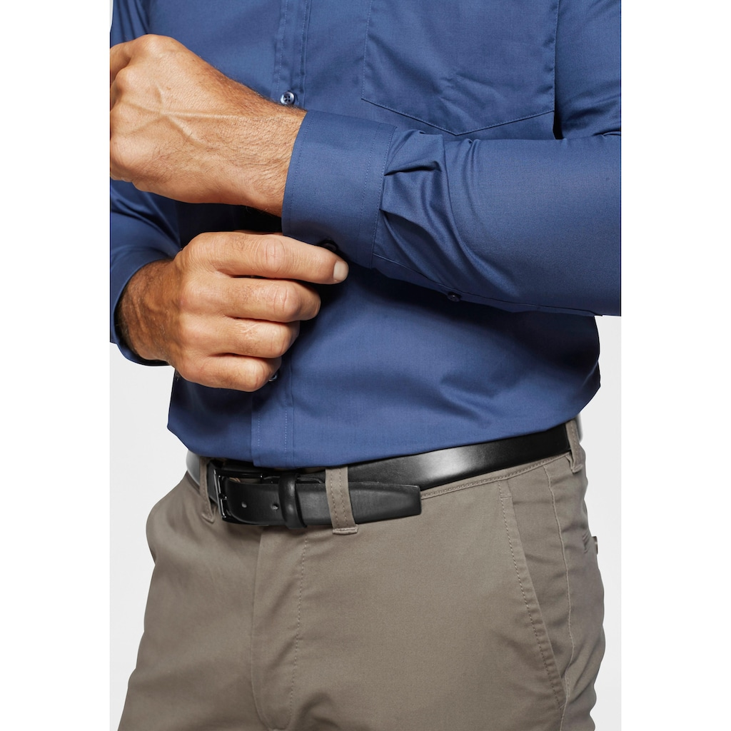 Man's World Businesshemd, abgesteppte Knopfleiste