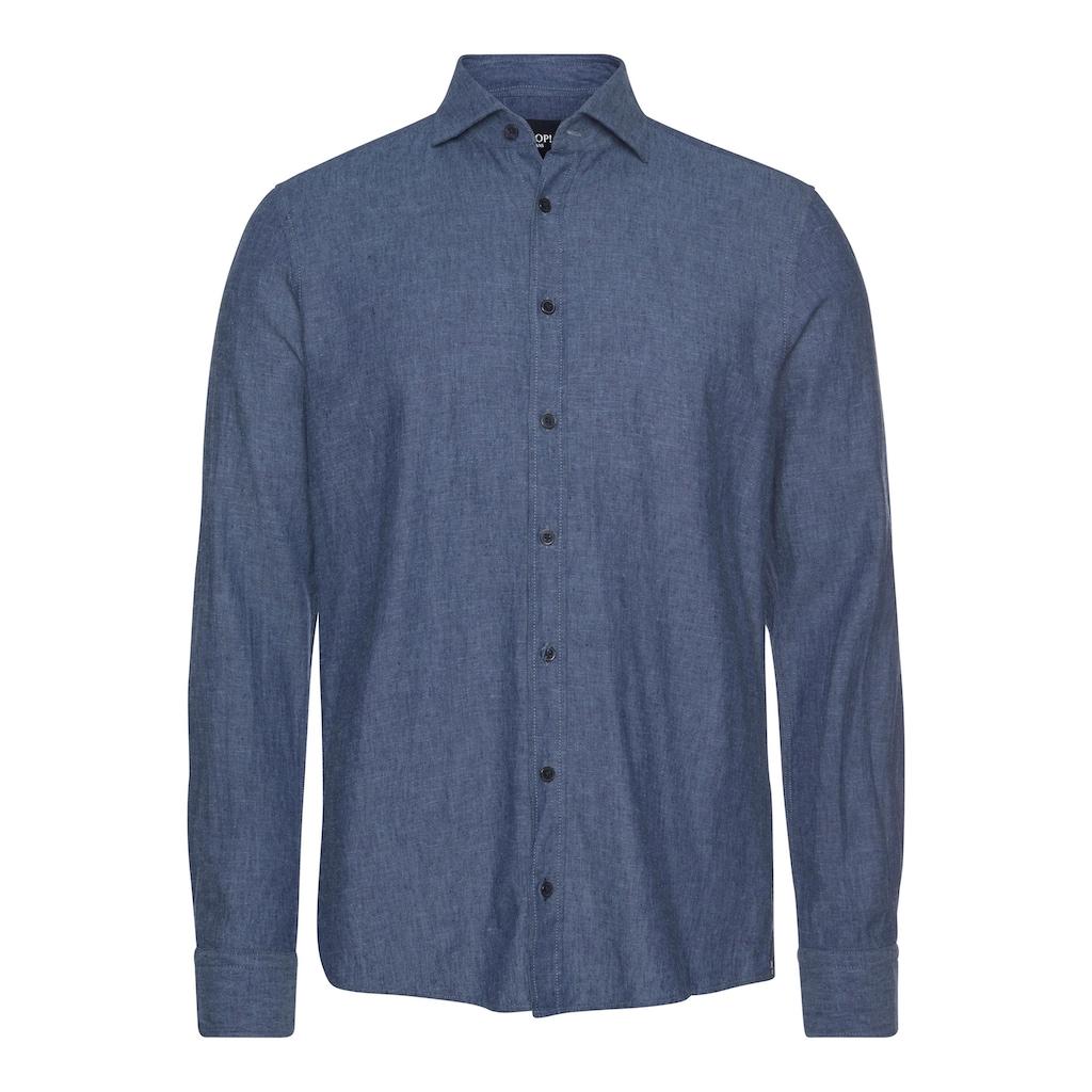 Joop Jeans Langarmhemd, in Leinenoptik, mit Haifischkragen