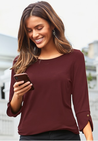 Vivance 3/4-Arm-Shirt, mit modischen Manschetten und goldfarbenen Knöpfen kaufen
