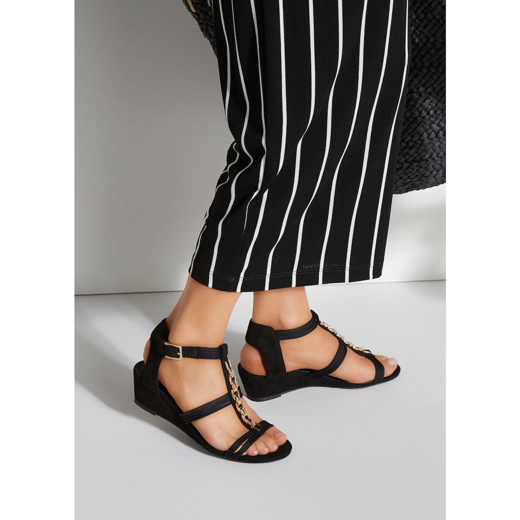 LASCANA Sandalette, mit bequemen Keilabsatz und modischer Schmuckapplikation