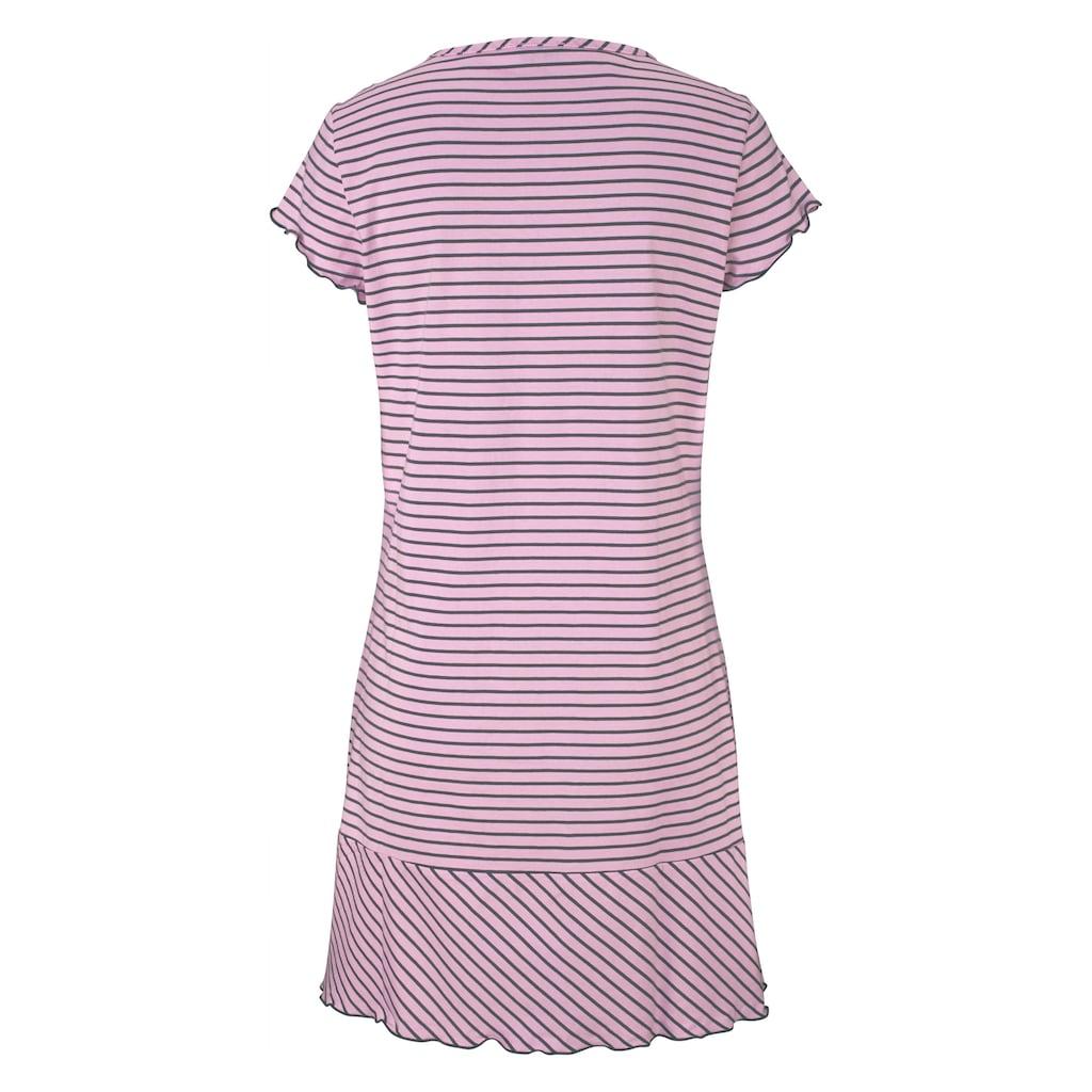 H.I.S Nachthemd, in süssem Streifenlook mit Kräuselrändern