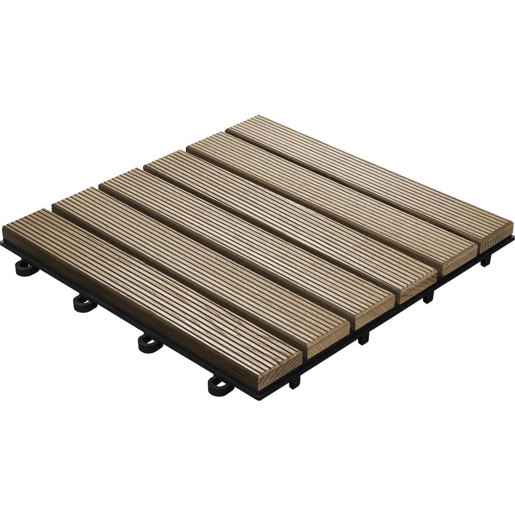 florco® Terrassenplatten »Esche, 6 Latten 30 x 30, 6 Stk.«