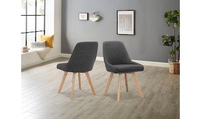 INOSIGN Stuhl »Dilla«, im 1er und 2er Set erhältlich, aus pflegeleichtem Webstoff Bezug und massiven Eichenholzbeinen, Sitzhöhe 48 cm kaufen