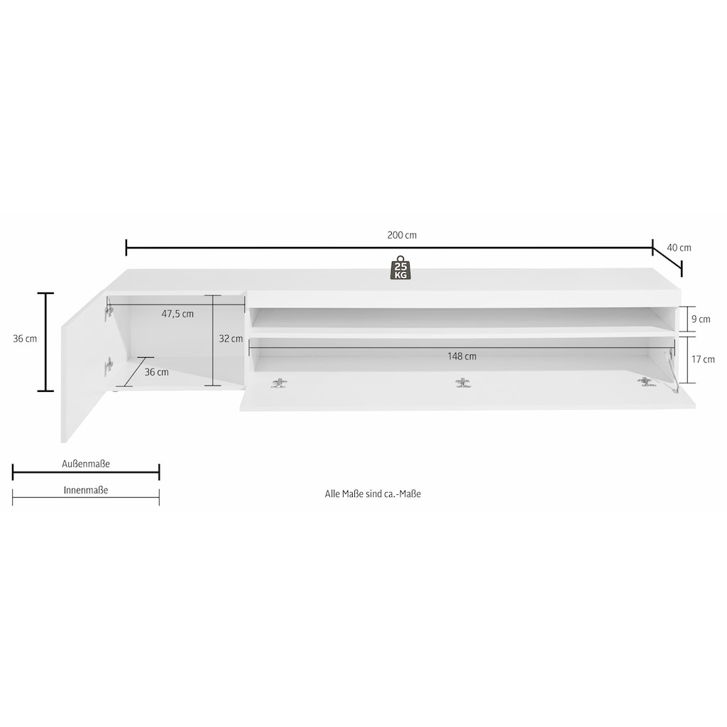 Tecnos Lowboard, Breite 200 cm
