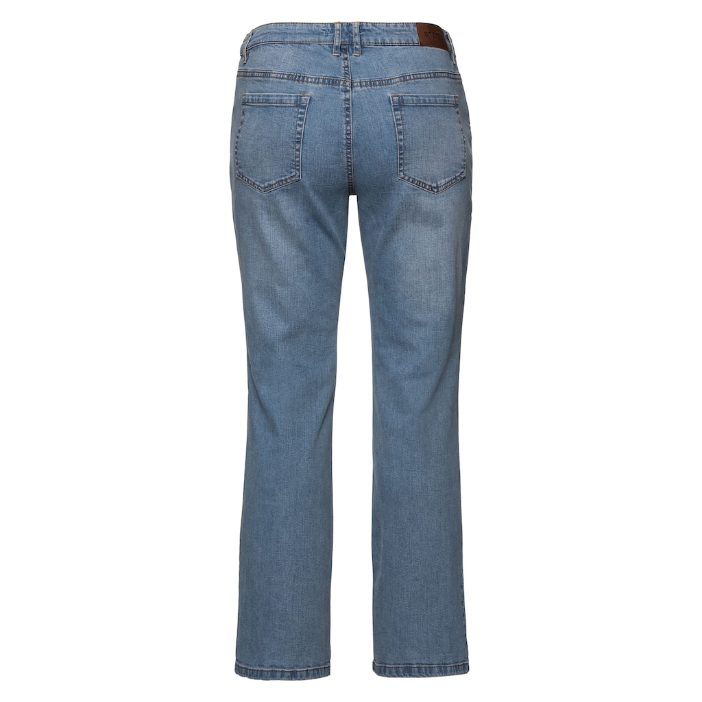 Sheego Bootcut-Jeans, Individuelle Used-Effekte