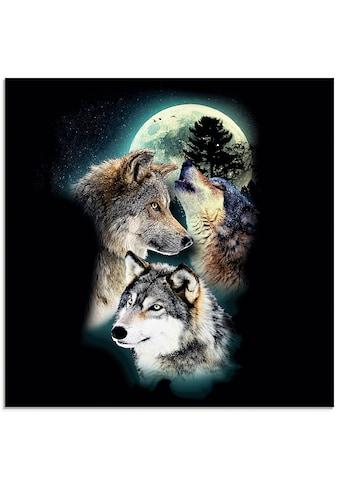 Artland Glasbild »Phantasie Wolf Wölfe mit Mond«, Wildtiere, (1 St.) kaufen