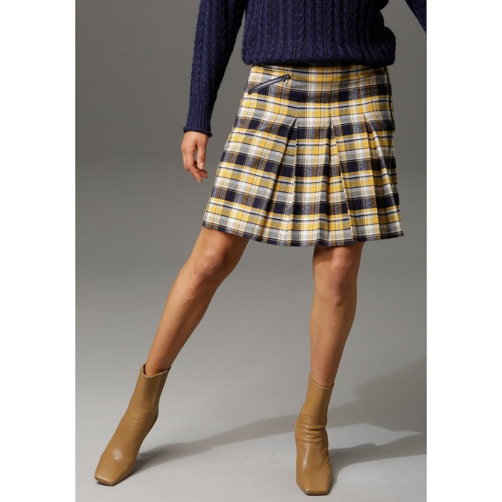 Aniston CASUAL Faltenrock, mit Zierreissverschluss im Vorderteil