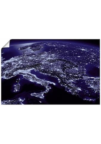 Artland Wandbild »Südliches Europa vom Weltraum Blau«, Weltall & Kosmos, (1 St.), in... kaufen