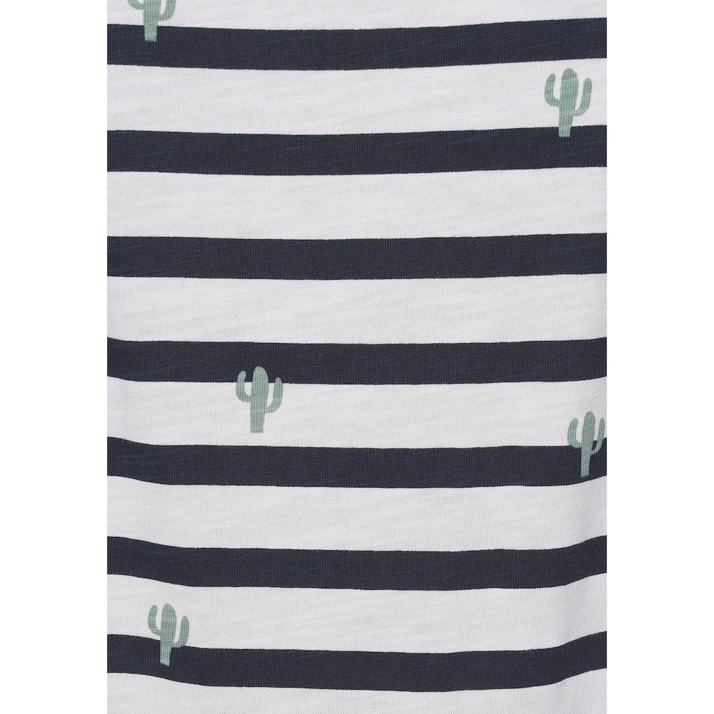"""edc by Esprit T-Shirt, im süssen """"Ringel-Kaktus-Alloverprint"""""""