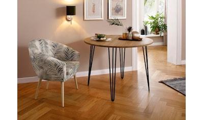 Home affaire Esstisch »Hairpin«, aus massiver Eiche, mit Metallbeinen, Breite 100 cm kaufen