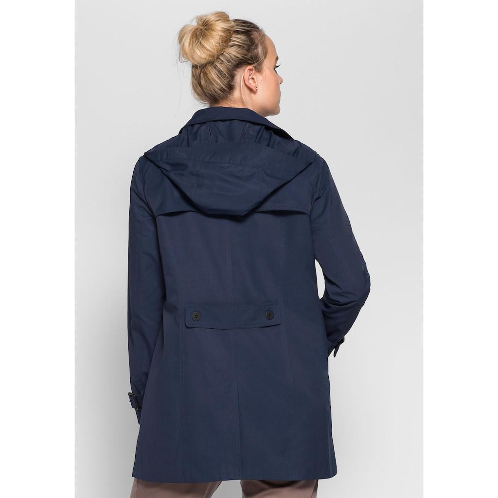 Sheego Trenchcoat, Winddicht und wasserabweisend durch beschichtete Baumwolle