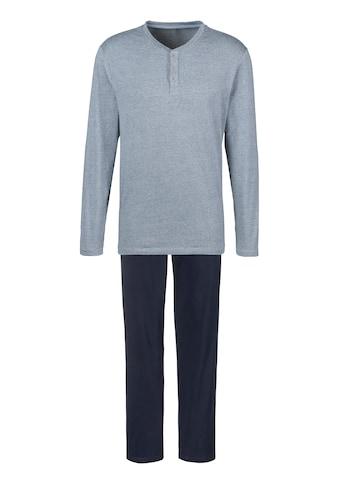 s.Oliver Bodywear Pyjama, Melange Oberteil mit Knopfleiste kaufen