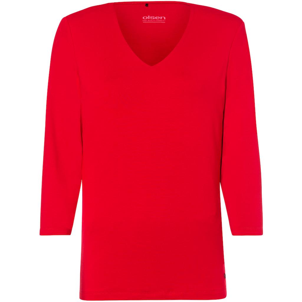 Olsen V-Shirt, Basic-Baumwollshirt