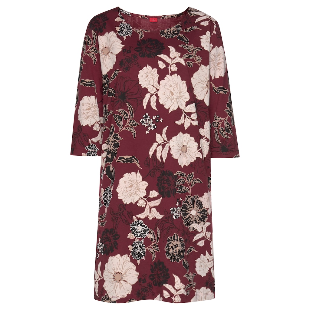 s.Oliver Bodywear Nachthemd, im Blumen-Dessin mit halbem Ärmel