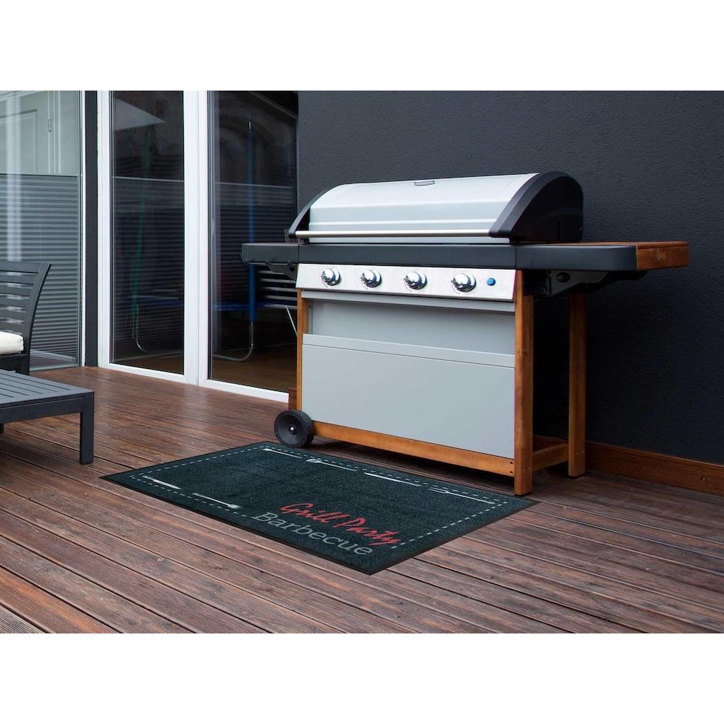 Primaflor-Ideen in Textil Fussmatte »BBQ Party«, rechteckig, 5 mm Höhe, Schmutzfangmatte, Grillmatte bzw. Grillunterlage ideal als Bodenschutz, mit Spruch, In- und Outdoor geeignet, waschbar