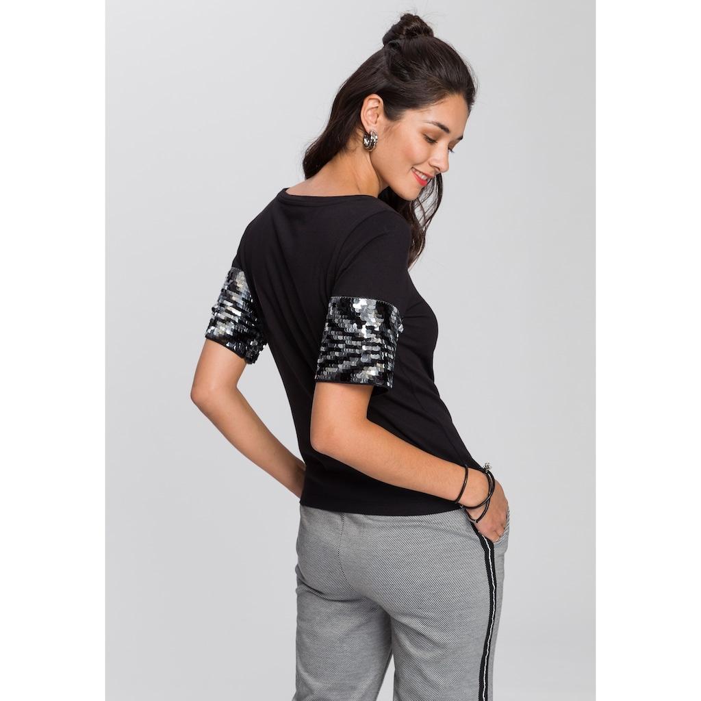 AJC T-Shirt, mit Pailletten besetzen Ärmeln