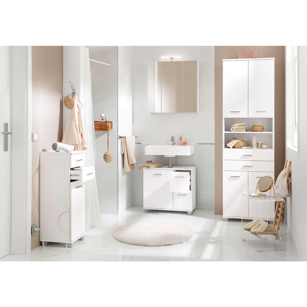 Schildmeyer Waschbeckenunterschrank »Lagona«, Breite 65 cm, mit 2 Schubkästen & 1 Tür, Griffe & Beschläge aus Metall