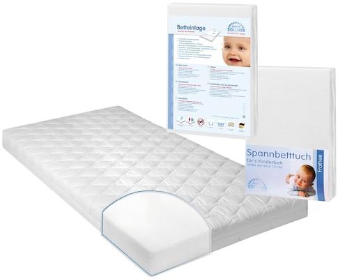 Babymatratze mit Betteinlage und Spanntuch