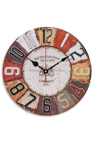 Wall-Art Wanduhr »Retro MDF Holz Wanduhr Metall Optik Wohnzimmer grosse Uhr Ø 40cm... kaufen