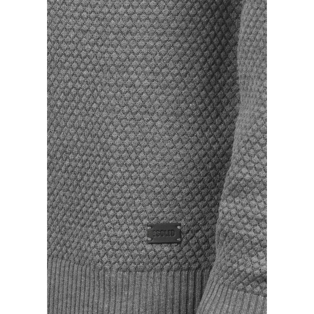 Solid Rundhalspullover »Karl«, Strickpullover mit Perl-Strickmuster