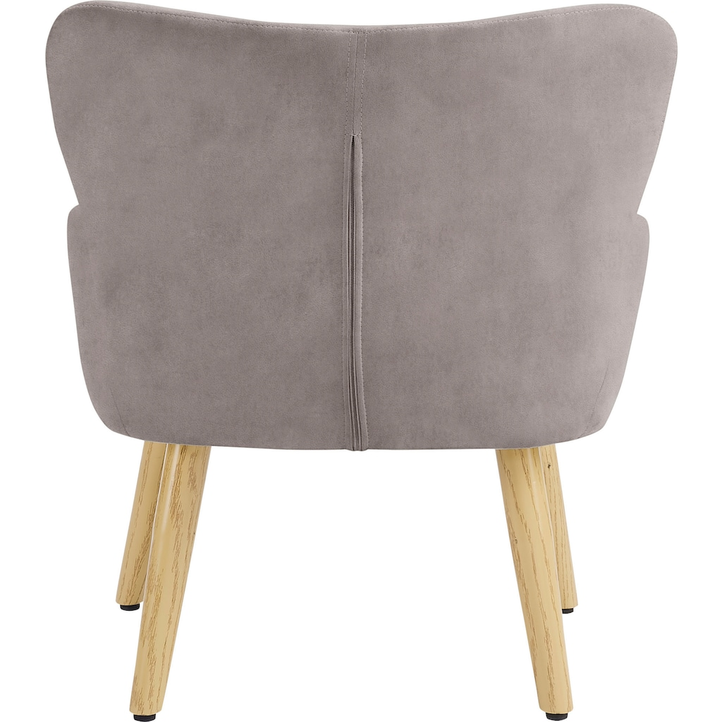 Lüttenhütt Sessel »Levent Mini«, mit Metallbeinen im Eichen-Look, in verschiedenen Bezugsqualitäten und Farbvarianten, Sitzhöhe 31 cm