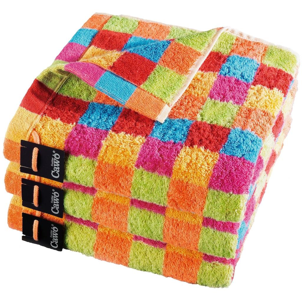 Cawö Saunatuch »Lifestyle Cubes«, (1 St.), mit bunten Karos