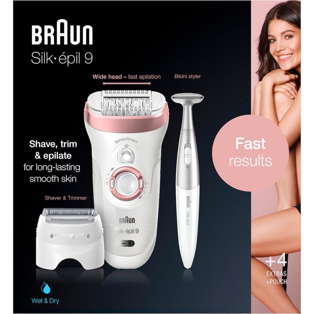Braun Epilierer »Silk-épil 9 9-890«, 4 St. Aufsätze, SkinSpa SensoSmart Epilierer Roségold mit 4 Extras
