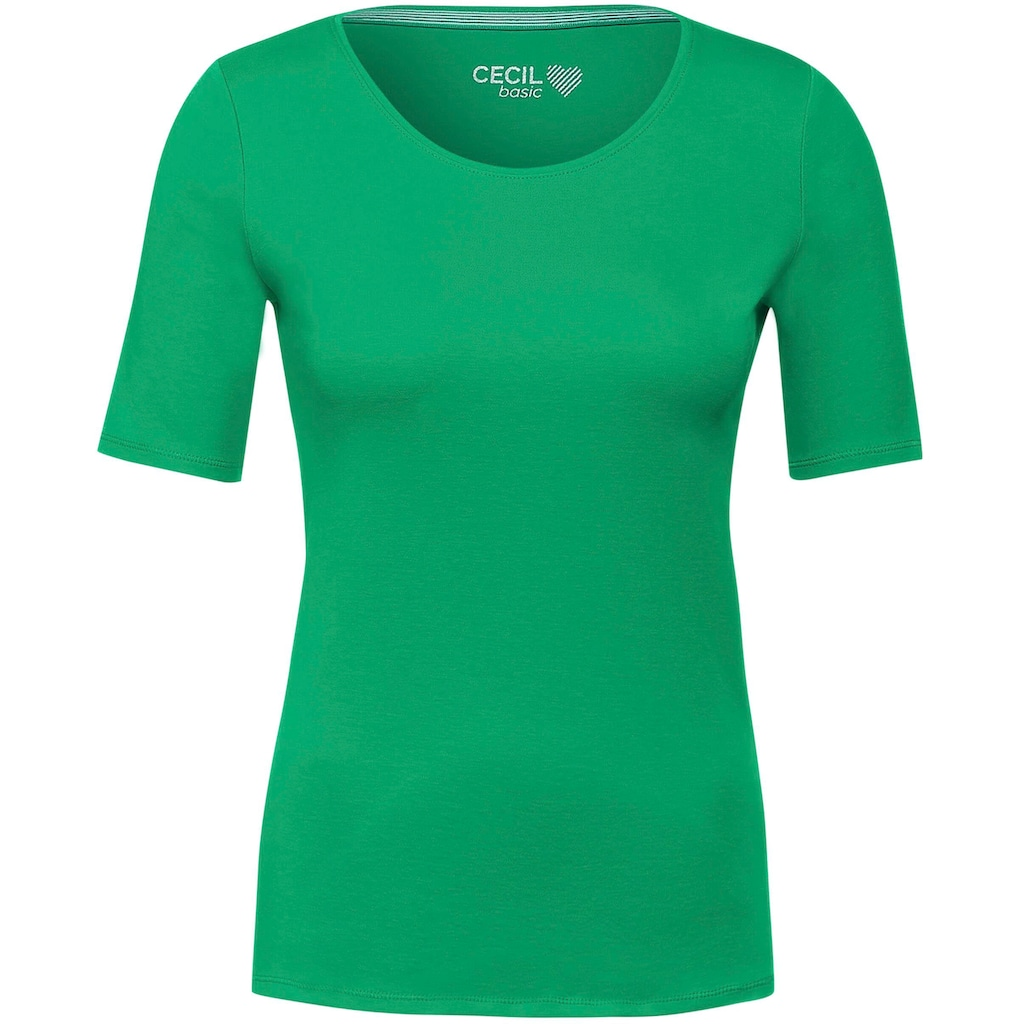 Cecil Rundhalsshirt »Lena«, Basic-Shirt mit Halbarm