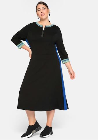 Sheego Sweatkleid, mit Zipper und Kontraststreifen kaufen