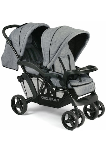 CHIC4BABY Geschwisterwagen »Doppio, jeans blue«, mit Regenschutz; Kinderwagen,... kaufen
