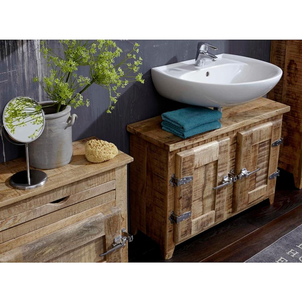 SIT Waschbeckenunterschrank »Frigo«, Mangoholz im Antik-Look mit Kühlschrankgriffen, Breite 88 cm, Shabby Chic, Vintage