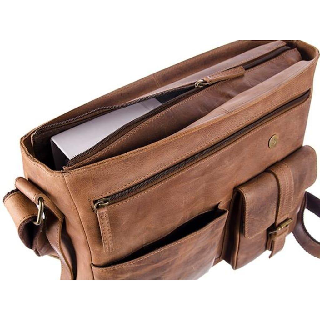GreenLand Nature Messenger Bag »Montenegro«, aus Rindsleder mit Laptopfach