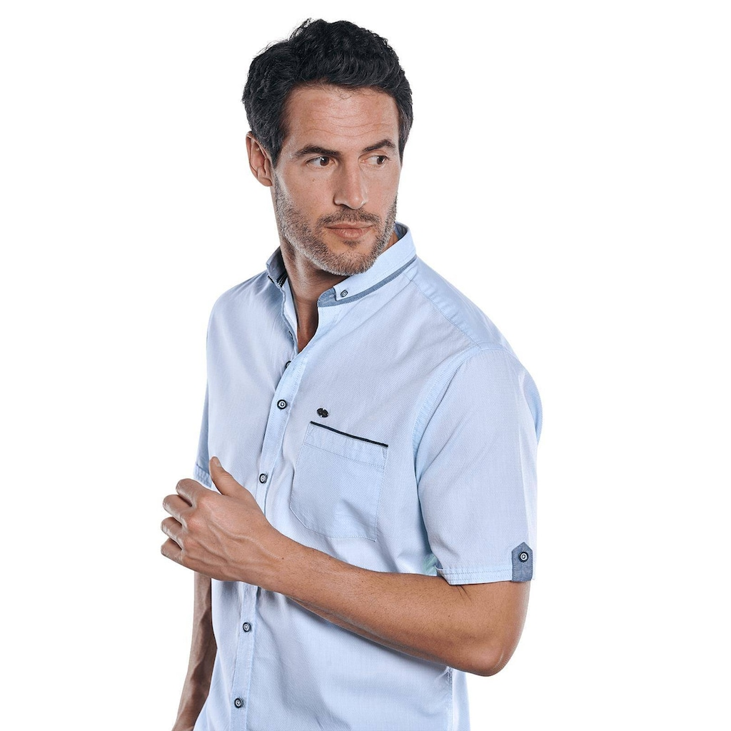 Engbers Unifarbenes Kurzarmhemd mit stylischen Kontrastdetails
