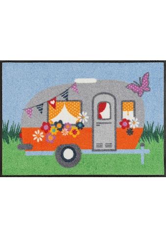 wash+dry by Kleen-Tex Fussmatte »Happy Camping«, rechteckig, 7 mm Höhe, Schmutzfangmatte kaufen