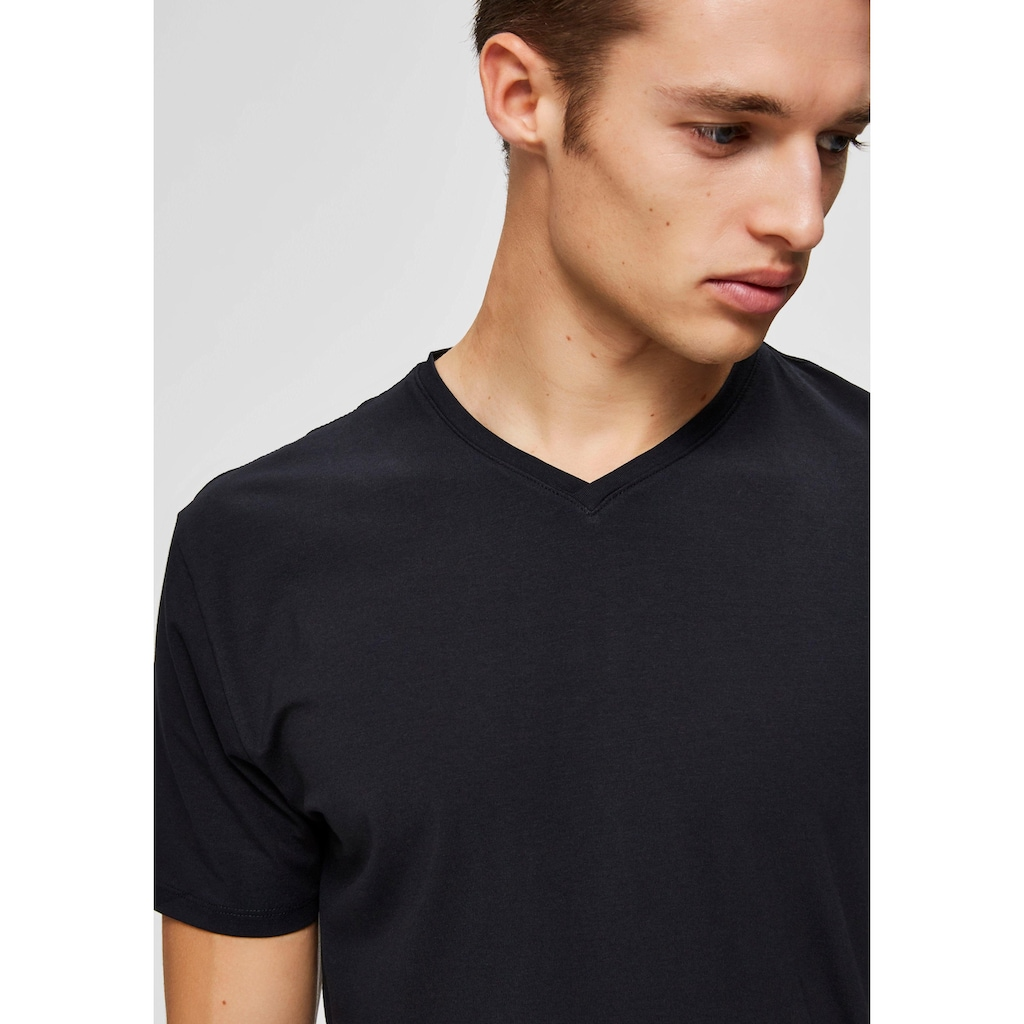 SELECTED HOMME T-Shirt »NEW PIMA SS V-NECK TEE«
