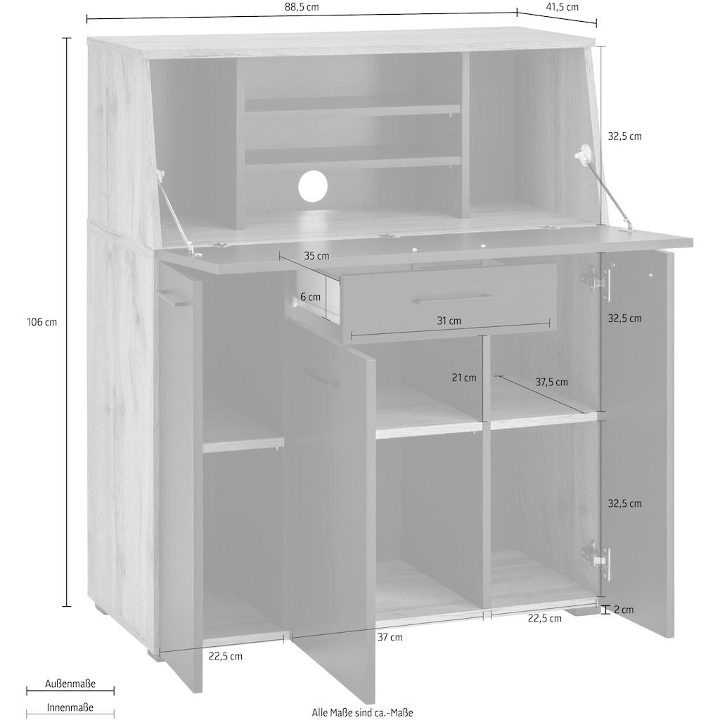 """Places of Style Sekretär »Moid«, Sekretär """"Moid"""" viele Stauraummöglichkeiten, Breite 88,5 cm"""