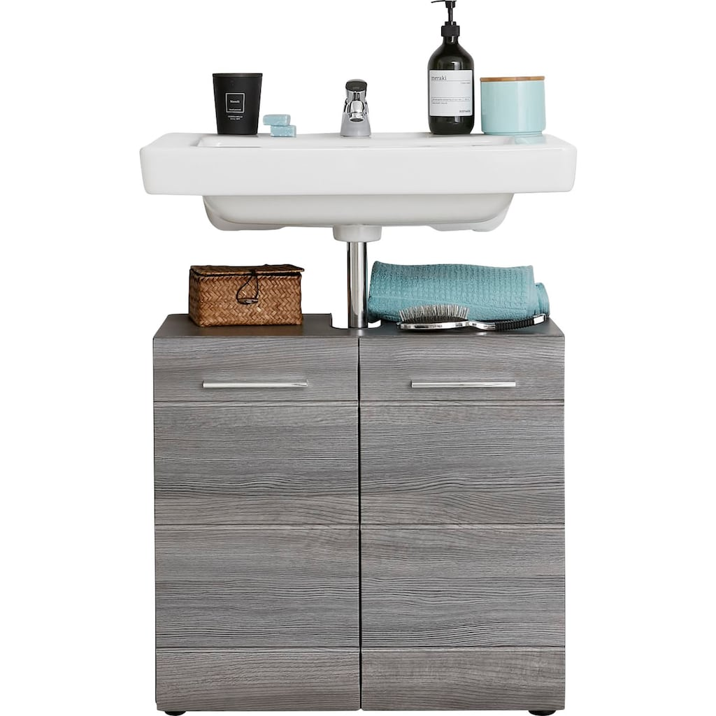 trendteam Waschbeckenunterschrank »Skin«, Höhe 56 cm, Badezimmerschrank mit Fronten in Hochglanz- oder Holzoptik, mit Siphonausschnitt