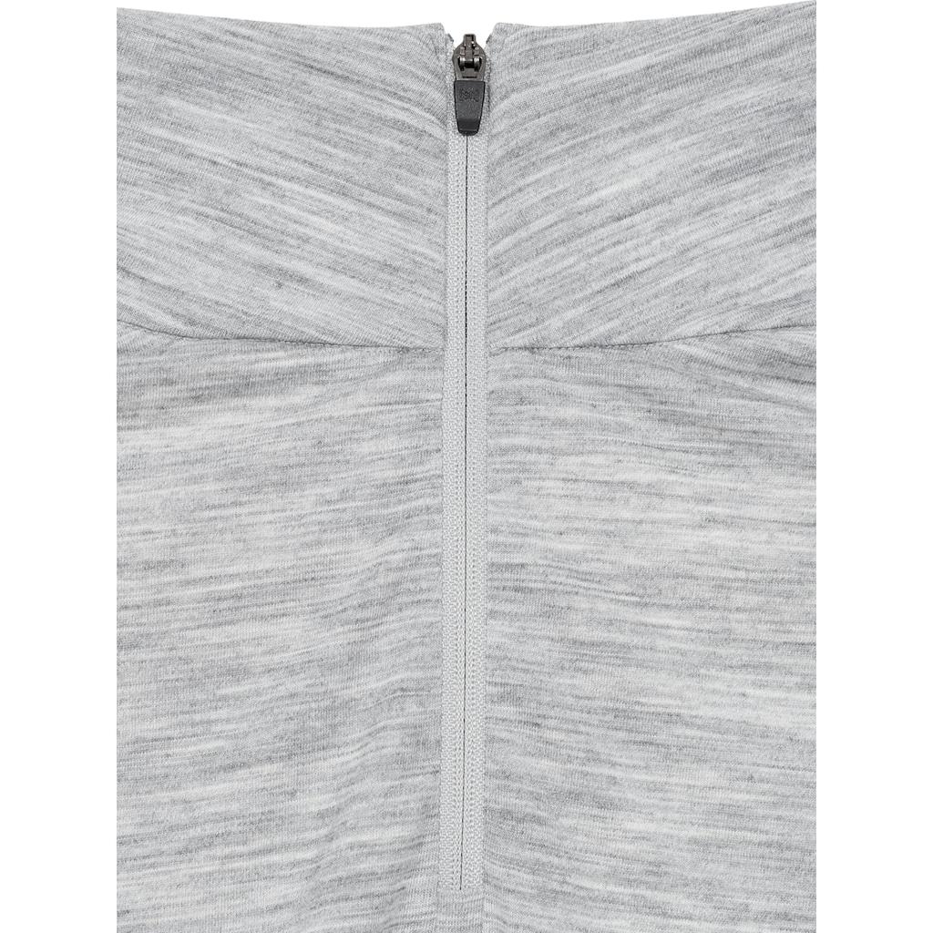 SUPER.NATURAL Longsleeve »W BASE 1/4 ZIP 175«, geruchshemmender Merino-Materialmix
