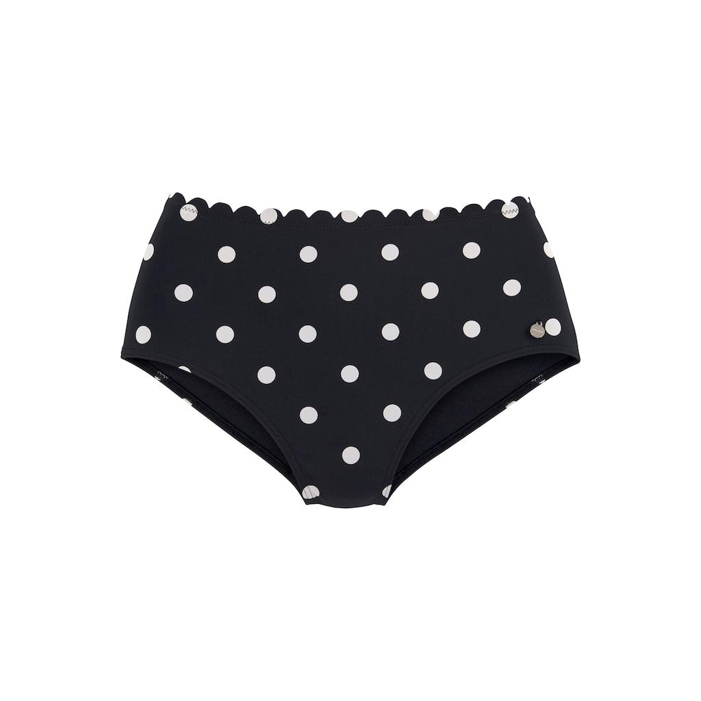 LASCANA Highwaist-Bikini-Hose »Jada«, Mit Muschelkante und Punkten